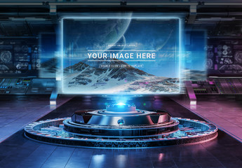 Holographic Billboard Projector in Futuristic Interior Mockup