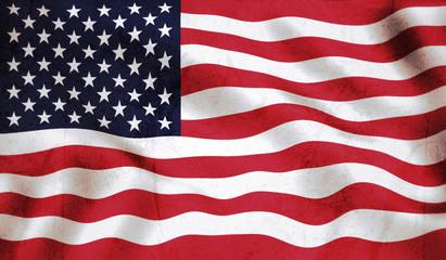 grunge US flag waving