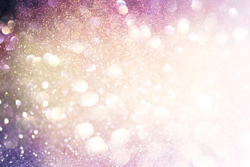 colorful glittering Christmas lights. Blurred abstract background