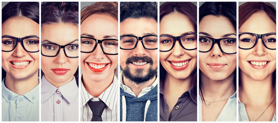 Multiethnic group of happy young women in glasses and one cheerful guy