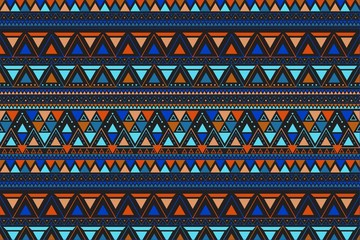 Tribal art lineal pattern. Ethnic geometric print. Aztec colorful repeating background texture.