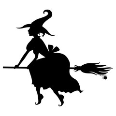 Halloween witch silhouette on broom