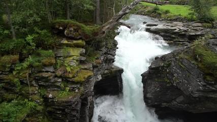 Wall Mural - Rocky River Gorge Closeup. Rushing Water. Norway, Europe.