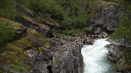 Wall Mural - Rocky Norwegian Landscape 4K Footage.