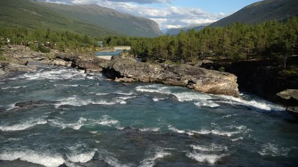 Wall Mural - Summer Norwegian Scenery with River and the Wilderness