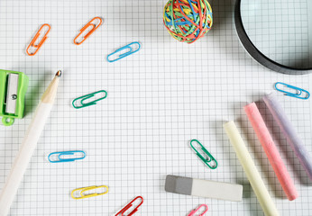 Back to school concept. School and office supplies on office table