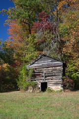 Old North Carolina Tobacco Barn in Fall (Vertical)