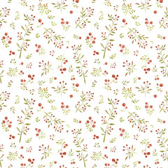 Watercolor seamless pattern with cute little leaves and red berries on white background