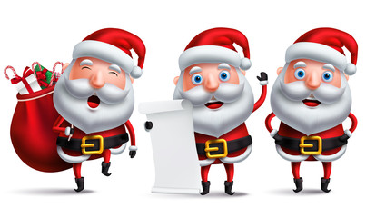 Santa claus vector character set holding christmas wish list and carrying sack of gifts and present isolated in white background for christmas design elements. Vector illustration.