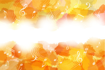 音符と秋のイメージ背景