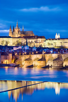 night view of Prague castle and Charles bridge over Moldau river, Lesser town, Prague (UNESCO), Czech republic