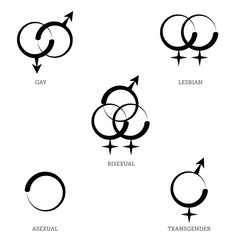 A Collection of LGBT Symbols for Gay, Lesbian, Bisexual, Transgender, and Asexual, Isolated on Transparent Background, EPS Illustration