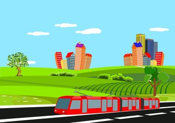 Abstract vector city. Countryside Road in green hills,electric train   Vector art