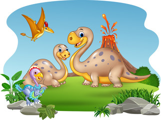 Cartoon mother and baby dinosaurs with nature background