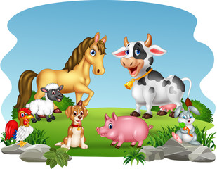 Cartoon farm animals with nature background