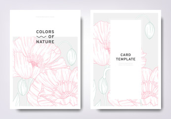 Floral greeting/invitation card template design, hand drawn poppy flowers with leaves, minimalist pastel style