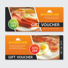 Discount voucher breakfast template design. Set of fried egg, bacon,  sausage.