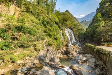 Waterfall in Cat Cat village, Vietnam