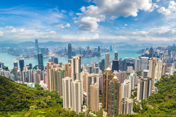 In de dag Aziatische Plekken Panoramic view of Hong Kong