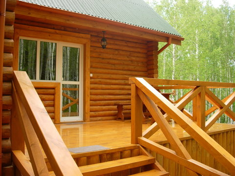 wooden made house in the forest