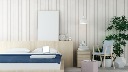 The interior minimal hotel bedroom 3d rendering a