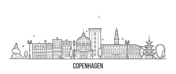 Wall Mural - Copenhagen skyline Denmark vector city line style