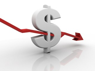 3d rendering Stock market online business concept. business Graph with dollar sign