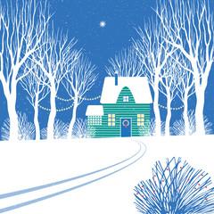 Иллюстрация с изображением светящейся звезды над домиком украшенном к Рождеству среди деревьев.