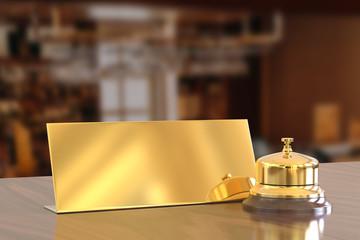 Golden reception bell and check in desk sign, 3d illustration