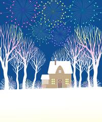 Иллюстрация с праздничным фейерверком на фоне тёмно-синего неба над домом, украшенном к Рождеству. Дом стоит среди белых деревьев и кустов, освещённых фейерверком.