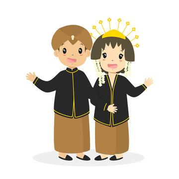 Indonesian children in Javanese traditional wedding dress and waving their hands cartoon vector