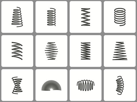 Metal spring icon set. Illustrations isolated on white. Simple pictograms for graphic and web design.