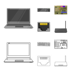 Keyboard, router, motherboard and connector. Personal computer set collection icons in cartoon,outline style vector symbol stock illustration web.