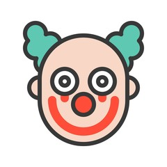 scary clown or joker with bloody on face, halloween icon editable stroke