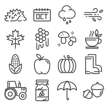 Collection of autumn icons. Isolated vector set