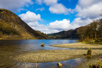 Loch Lubnaig of Scottish Highlands on a sunny spring day