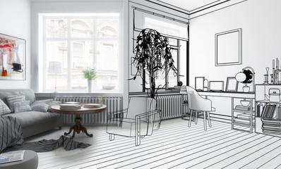 Möbliertes Wohnzimmer (Design)