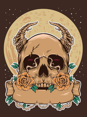 Poster Watercolor Skull Halloween skull with dark moon illustration