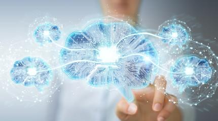 Businesswoman creating artificial intelligence in a digital brain 3D rendering