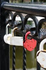 Locks of lovers on the bridge.