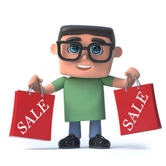 Vector 3d Boy in glasses has been to the sales