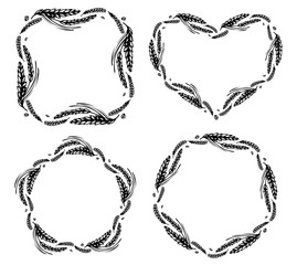 Set of wheat and malt round, heart, star and square frames or wreath on white background. Black and white hand drawn sketch for bakery, cereals or labels design. JPG include isolated path