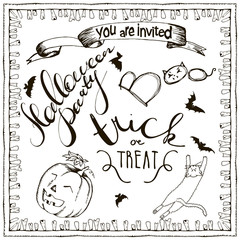 set of Halloween hand drawn elements, lettering and zombee teeth frame for invitation. Hand drawn sketches for your design of poster, cards, invitations, cover tepmlate of greeting card
