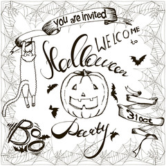 set of Halloween hand drawn elements, lettering and spiderweb frame for greeting cards or invitation. Hand drawn sketches for your design of poster, cards, invitations, cover tepmlate of greeting card