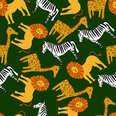 Cute vector animal pattern for illustration and textile