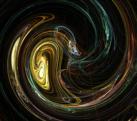 Fractal abstraction. A glowing round figure, a symbol of energy, tension, power