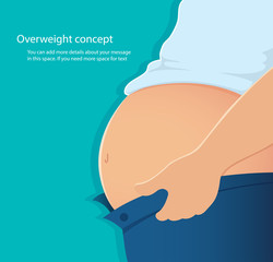 concept of overweight , belly fat vector illustration