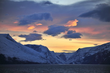 Colorful sunset in the mountains of Greenland.
