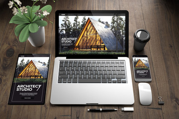 Wall Mural - devices on wooden fllor architect website