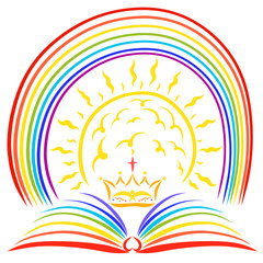 The rainbow, the sun and the crown of the Lord over an open rainbow book